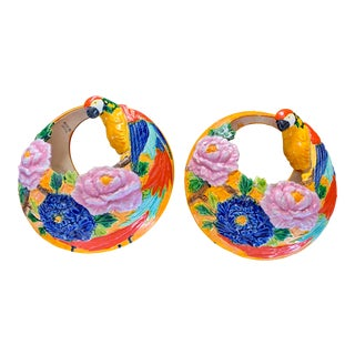 Hanging Majolica Parrot Floral Planters - a Pair For Sale