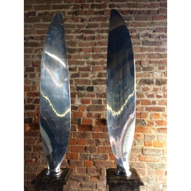 Tall Polished Chrome Airplane Propeller Blades Sculptures - A Pair For Sale - Image 9 of 11