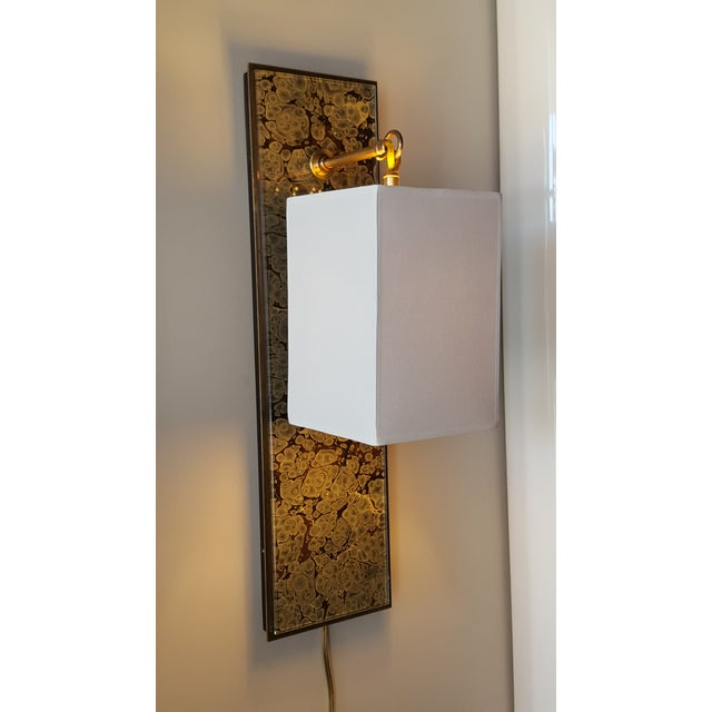 Modern Brass and Marbleized Wall Sconce V2 by Paul Marra For Sale - Image 12 of 13
