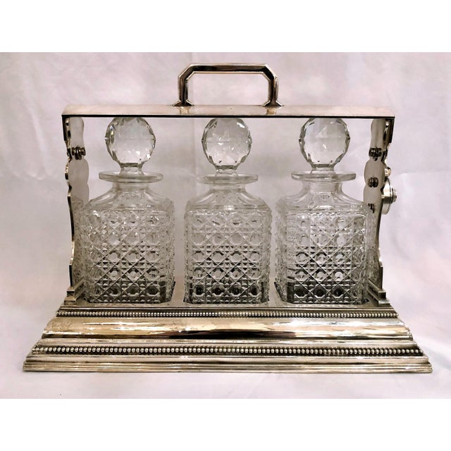 Antique English Sheffield Silver Plate and Cut Crystal Three Bottle Tantalus. For Sale - Image 4 of 4