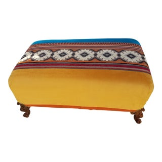 Boho-Chic Color-Block Overstuffed Ottoman For Sale