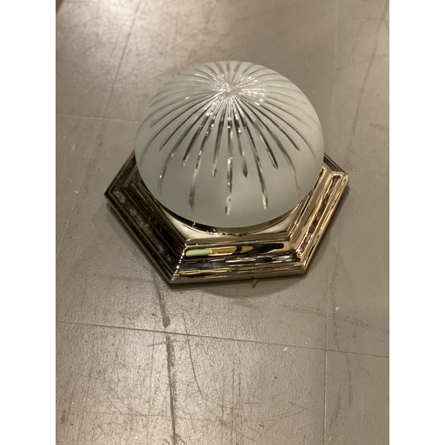 Circa 1940 nickel plated light fixture with etched glass inset.