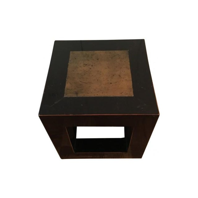 Vintage Chinese black lacquer cube side tables of elm wood construction with stone inlay. Beautiful as side or center tables
