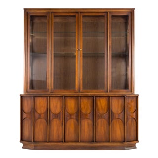 Mid Century Modern Kent Coffey Perspecta Walnut and Rosewood China Cabinet Sideboard Buffet and Hutch For Sale