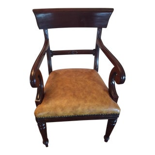 Mahogany Arm Chair With Leather Seat