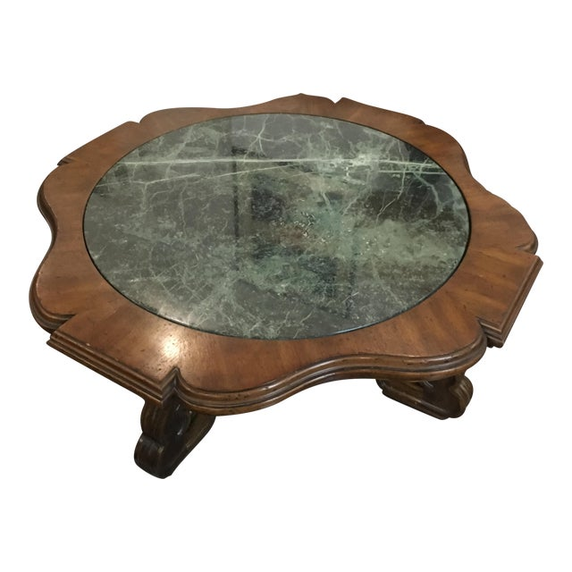 Green Italian Marble Inlay Wooden Coffee Table