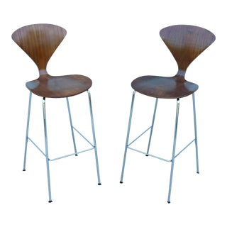Vintage Norman Cherner Molded Plywood Walnut Bar Stools - a Pair For Sale