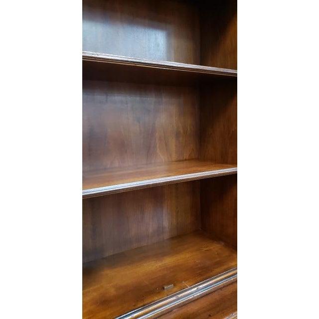 Walnut 20th Century English Traditional Glazed Walnut Breakfront Cabinet For Sale - Image 7 of 13