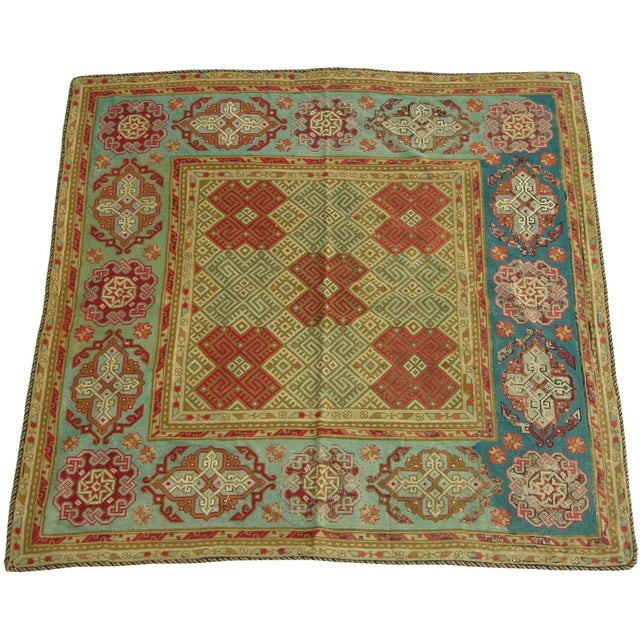 Antique 1900s English Needlework Rug - 6′3″ × 6′3″ a For Sale - Image 4 of 5