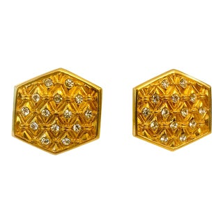 1980s Swarovski Crystal Braided Gold Earrings - a Pair For Sale