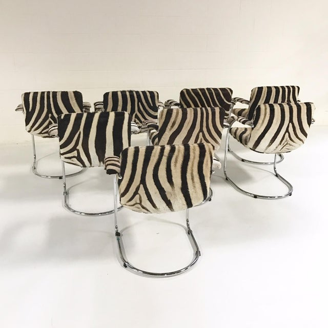 Giovanni Offredi for Saporiti Lens Chairs in Zebra - Set of 8 - Image 9 of 11
