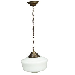 Great Art Deco Pendant Light With White Glass Shade Ca. 1920 For Sale