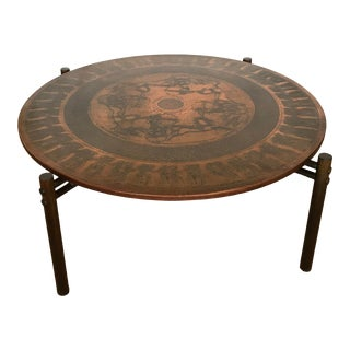 Vad Trevarefabrik Copper-Top Round Coffee Table For Sale