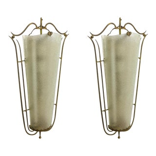 Raymond Subes Style Pair of Spectacular Big Sconces in Frosted Glass and Bronze For Sale