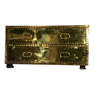 Vintage Sarreid Distressed Brass Double Drawer Chest/Table For Sale