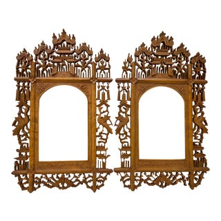 19th C. Pair of Hand Carved Anglo Indian Teak Wood Picture Frames For Sale