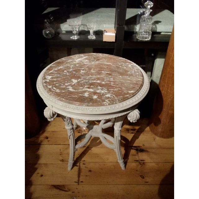 Gray Pair of Neoclassical Painted Marble Top Gueridons or End Tables For Sale - Image 8 of 9