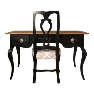 Black Heckman Vintage Desk & Chair - A Pair