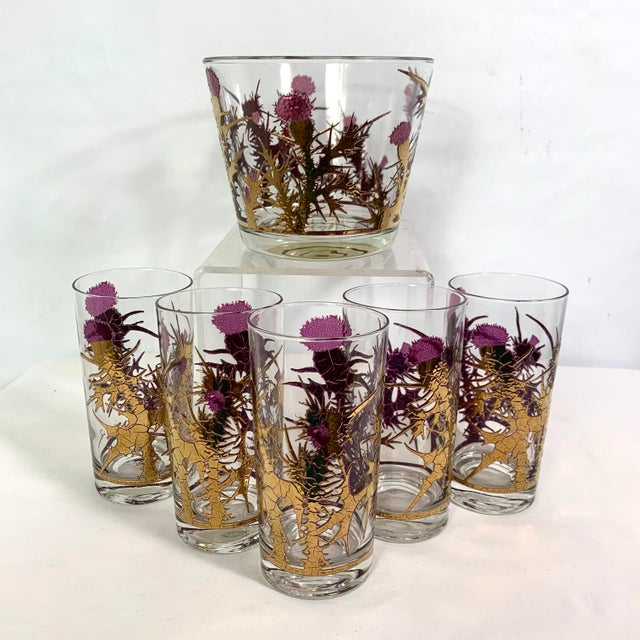 Mid-Century Modern Gregory Duncan Purple Gold Thistle Barware Ice Bucket & Highball Glasses - Set of 6 For Sale - Image 13 of 13