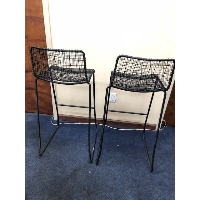2010s CB2 Reed Bar Stools - A Pair For Sale - Image 5 of 6