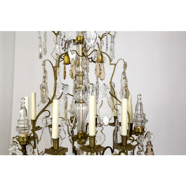 Tall Bronze Belle Epoque 21-Light Chandelier W/ Smoke & Mauve Crystals For Sale - Image 9 of 13