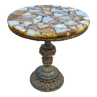 1960s Agate & Onyx Stone Accent Table For Sale