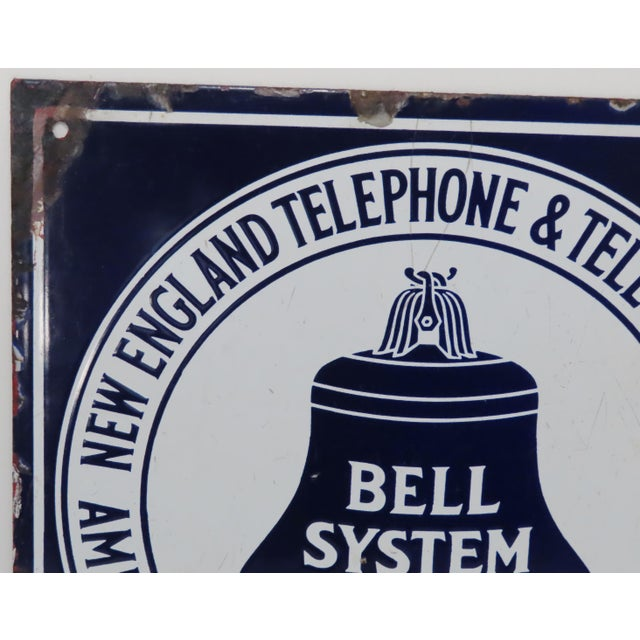 Antique Porcelain on Steel Bell Telephone Advertising Sign For Sale - Image 4 of 13