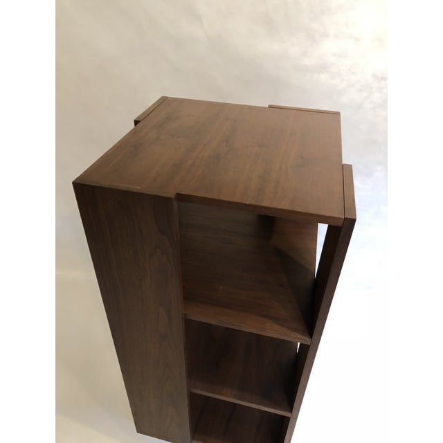 Brown Revolving Walnut Bookcase For Sale - Image 8 of 9