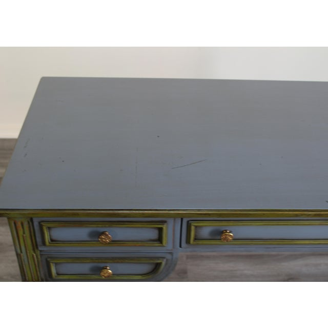 Mid Century Blue Painted Desk For Sale - Image 9 of 10