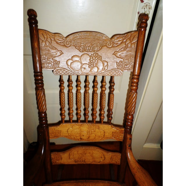Brown Late 20th Century Antique Golden Oak Rocking Chair For Sale - Image 8 of 13