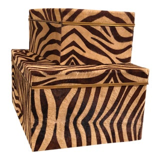 Maitland Smith Hide Ride Boxes - a Pair For Sale