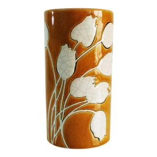 1920s Art Nouveau Emaux De Longwy Orange Pottery Column Vase For Sale