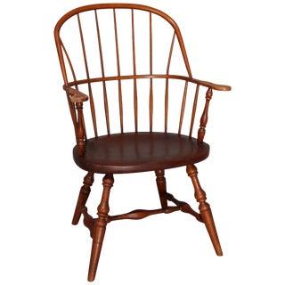 Vintage Colonial Style Stickley Oak Windsor Fan Back Chair For Sale