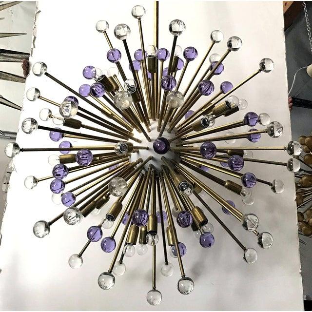 Contemporary Clear and Purple Burst Sputnik by Fabio Ltd. For Sale - Image 3 of 10