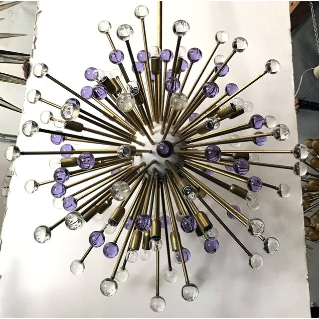 Contemporary Clear and Purple Burst Sputniks by Fabio Ltd ( 2 Available) For Sale - Image 3 of 10