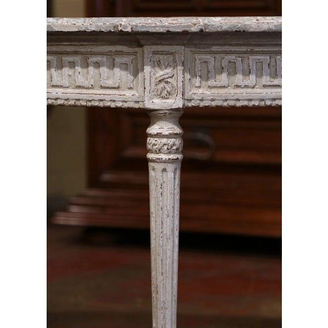 Wood 19th Century French Louis XVI Carved Painted Demilune Console Tables-a Pair For Sale - Image 7 of 11