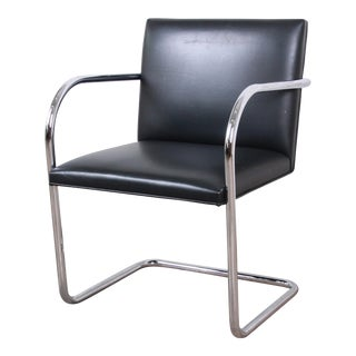 Mies Van Der Rohe for Knoll Black Leather and Chrome Brno Chair For Sale