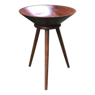 1960s Vermillion Solid Walnut Tripod Bowl CatchAll For Sale