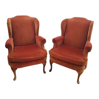 Late 20th Century Vintage Sam Moore Burnt Orange Wingback Armchair - A Pair For Sale