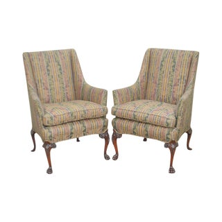 George II Custom Carved Mahogany Paw Foot Wing Chairs - a Pair