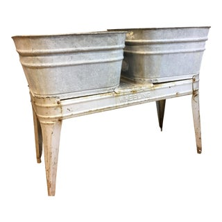 Vintage Industrial Galvanized Steel Double Wash Tub For Sale