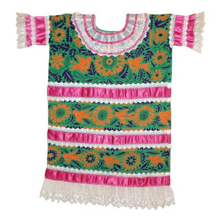 Vintage Embroidered Huipil From Mazatec, Oaxaca For Sale