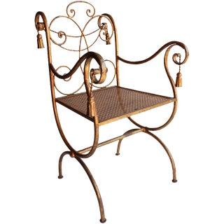 Mid-Century Regency Gilded Metal Rope and Tassel Metal Chair For Sale
