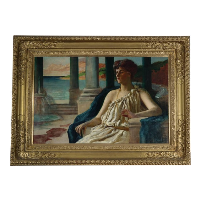 19th Century Oil on Canvas, Classical Lady For Sale