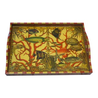 Annie Modica Oceans Fish Coral Decopauge Wood Serving Tray For Sale