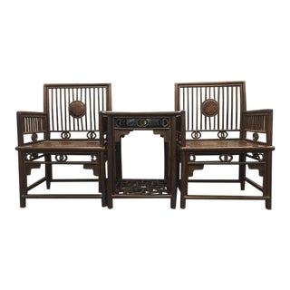 1970s Chinese Jichimu Comb-Style Chairs & Tea Table For Sale