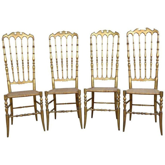 19th Century Italian Set of Four Turned and Gilded Wooden Famous Chiavari Chairs For Sale - Image 10 of 10