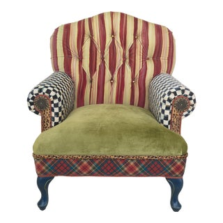 Mackenzie-Childs Upholstered Club Chair For Sale