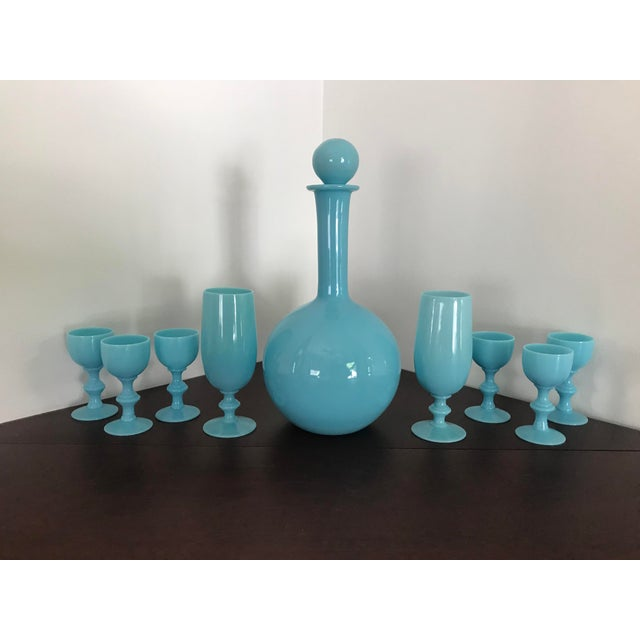 Art Deco Early 20th Century French Blue Opaline Decanter & Cordial Goblets Glassware by Portieux Vallerysthal - Set of 9 For Sale - Image 3 of 10