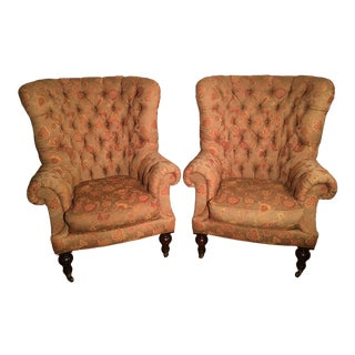 Lillian August for Drexel Heritage Oversized Tufted English Chesterfield Wingback Chairs - a Pair For Sale